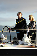 Michèle Paret and Dominique Wavre as Temenos 2 arrives in Wellington to have the keel inspected. Barcelona World Race. 2/1/2008