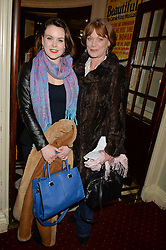 Left to right, MOLLY HANSON and her mother SAMANTHA BOND at Beautiful - The Carole King Musical 1st Birthday celebration evening at The Aldwych Theatre, London on 23rd February 2016.