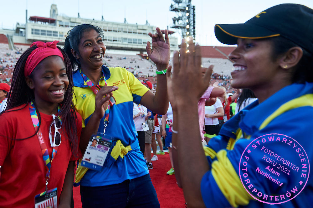 Closing Ceremony of the Special Olympics World Games Los Angeles 2015 at the Los Angeles Coliseum Stadium on ninth day, August 2, 2015 in Los Angeles, USA.<br /> <br /> USA, Los Angeles, August 2, 2015<br /> <br /> Picture also available in RAW (NEF) or TIFF format on special request.<br /> <br /> For editorial use only. Any commercial or promotional use requires permission.<br /> <br /> Adam Nurkiewicz declares that he has no rights to the image of people at the photographs of his authorship.<br /> <br /> Mandatory credit:<br /> Photo by &copy; Adam Nurkiewicz / Mediasport