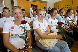 Marina Tomic, Maja Mihalinec, Anja Puc and Liona Rebernik at arrival of team Slovenia at the end of European Athletics Championships Barcelona 2010 to Slovenia, on August 2, 2010 at Airport Joze Pucnik, Brnik, Slovenia. (Photo by Vid Ponikvar / Sportida)