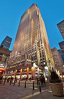 Rockefeller Center at dusk, New-York City, US