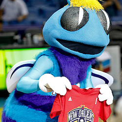 Mar 22, 2013; New Orleans, LA, USA; New Orleans Hornets mascot Hugo holds up a New Orleans Pelicans shirt before the start of a game against the Memphis Grizzlies at the New Orleans Arena. The Hornets are rebranding as the Pelicans next season.  Mandatory Credit: Derick E. Hingle-USA TODAY Sports