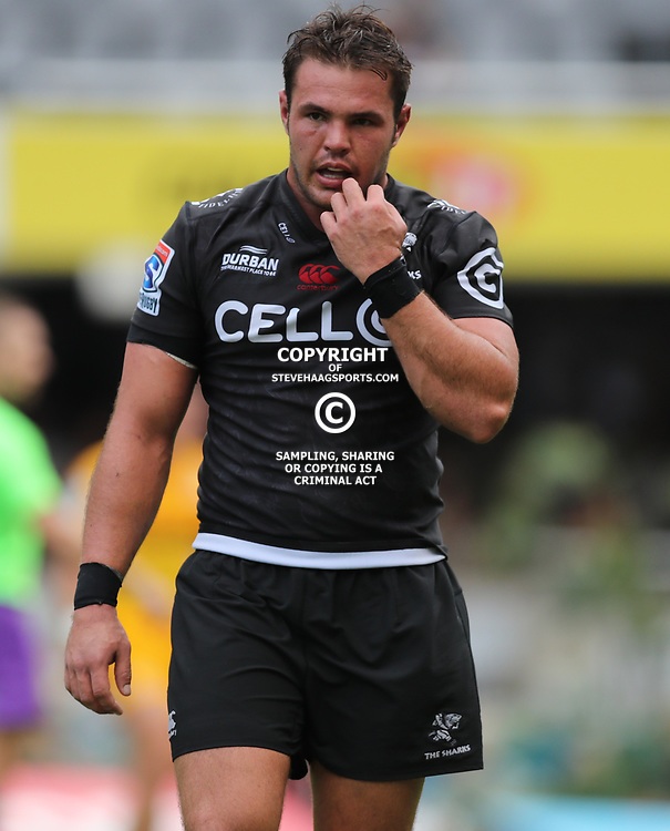 Franco Marais of the Cell C Sharks during the Super Rugby match between the Cell C Sharks and the Jaguares  April 8th 2017 - at Growthpoint Kings Park,Durban South Africa Photo by (Steve Haag)
