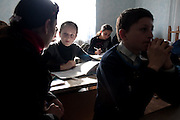 Students of the Roddy Scott Foundation work in there Duisi classroom. Republic of Georgia.