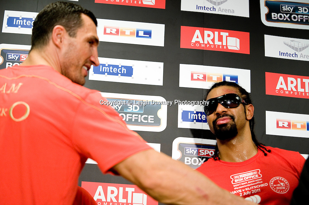 David Haye and Wladimir Klitscko at press conference following the World Heavyweight Title fight at Imtech Arena, Hamburg, Germany. 03.07.11. Photo credit: Leigh Dawney 2011