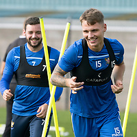 St Johnstone Training….<br />Jason Kerr and Drey Wright pictured during training at McDiarmid Park ahead of Sunday's game against Rangers<br />Picture by Graeme Hart.<br />Copyright Perthshire Picture Agency<br />Tel: 01738 623350  Mobile: 07990 594431