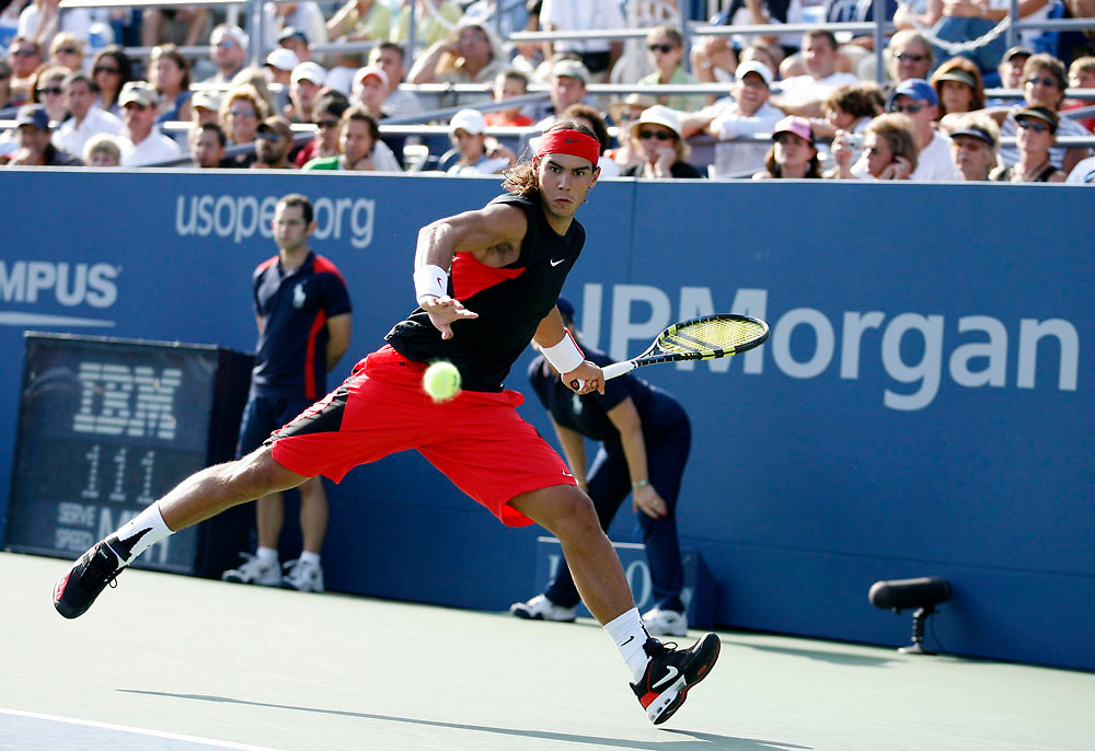Rafael Nadal of Spain playing Wesley Moodie in their third round match during the 2006 US Open Championship on September 3, 2006 in New York City.