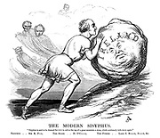 "The Modern Sisyphus. ""Sisyphus is said to be doomed for ever to roll to the top of a great mountain a stone, which continually falls down again."" Sisyphus..Sir R P- L. The Stone..D O'C - L. The Furies..Lord J R- L., S - L, &c."