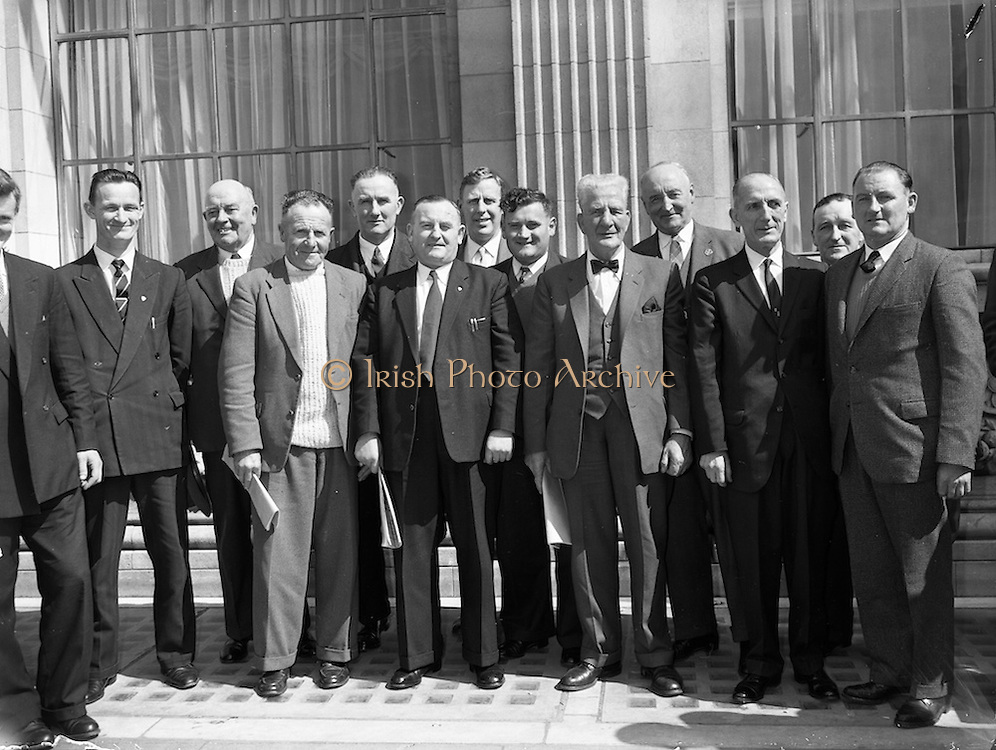 22/04/1962<br /> 04/22/1962<br /> 22 April 1962<br /> G.A.A. Annual Congress<br /> Cork delegates to the G.A.A. Annual Congress held in the Gresham Hotel, Dublin, are pictured outside the hotel on 22 April 1962. Pictured: P. Downey; N. Cotter; P.A. Marsh; J. Barry; P. Sisk; T. Lynch; E. Fitzgerald; S. McCarthy; D. Maher; M. O'Connell and J. Durkin.