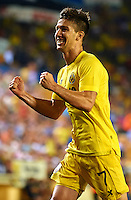 VILLARREAL, SPAIN - AUGUST 28:  Luciano Dario Vietto of Villarreal CF celebrates a goal during the UEFA Europe League play-off second leg match between Villarreal CF and Astana at El Madrigal on August 28, 2014 in Villarreal, Spain.  (Photo by Manuel Queimadelos Alonso/Getty Images)
