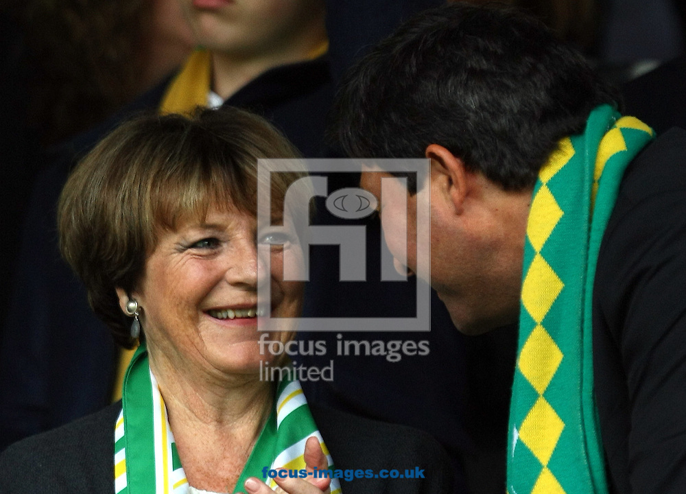 Norwich City's Joint Majority Shareholder Delia Smith and Stephan Phillips before the Sky Bet Championship match at Craven Cottage, London<br /> Picture by Paul Chesterton/Focus Images Ltd +44 7904 640267<br /> 18/10/2014