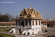 Buildings on the grounds of The Royal Palace in Phnom Penh, Cambodia, serve as one of the nation's top visitor attractions.