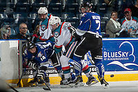 KELOWNA, CANADA - SEPTEMBER 3: Jack Cowell #8 and Ted Brennan #12 of Kelowna Rockets are checked in the corner by Eric Florchuk #14 and Scott Walford #7 of Victoria Royals on September 3, 2016 at Prospera Place in Kelowna, British Columbia, Canada.  (Photo by Marissa Baecker/Shoot the Breeze)  *** Local Caption *** Jack Cowell; Ted Brennan; Eric Florchuk; Scott Walford;