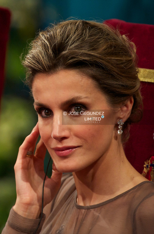 Princess Letizia of Spain attends the 'Prince of Asturias Awards 2010' ceremony at the Campoamor Theater on October 21, 2011 in Oviedo, Spain.