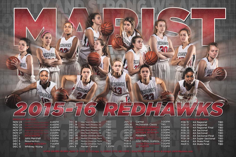 Marist High School 2015 2016 Girls Basketball Sports Photography. Chicago, IL. Chris W. Pestel Chicago Sports Photographer.