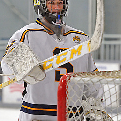 TOM KELLY IV - DAILY TIMES<br /> Springfield goalie Bryan Biehl (26) stands near the net.  Penncrest takes on Springfield at Ice Works in Aston, Friday night December 2, 2014.