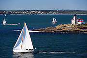 Sonny racing at the Museum of Yachting Classic Yacht Regatta, Beavertail Lihghthouse
