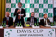 (L-R) Franjo Lukovic & Andrew Jarrett - ITF referee supervisor & Janusz Samel & Krzysztof Suski - president of Polish Tennis Association while official draw at Regent Hotel one day before the BNP Paribas Davis Cup 2014 between Poland and Croatia at Torwar Hall in Warsaw on April 3, 2014.<br /> <br /> Poland, Warsaw, April 3, 2014<br /> <br /> Picture also available in RAW (NEF) or TIFF format on special request.<br /> <br /> For editorial use only. Any commercial or promotional use requires permission.<br /> <br /> Mandatory credit:<br /> Photo by © Adam Nurkiewicz / Mediasport