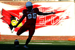 15 October 2011: Nick Aussieker during an NCAA football game between the University of South Dakota Coyotes and the Illinois State Redbirds (ISU) at Hancock Stadium in Normal Illinois.