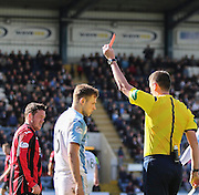 Referee Criag Thomson shows the red card to Dundee's Greg Stewart  - Dundee v St Johnstone, SPFL Premiership at Dens Park <br /> <br />  - &copy; David Young - www.davidyoungphoto.co.uk - email: davidyoungphoto@gmail.com