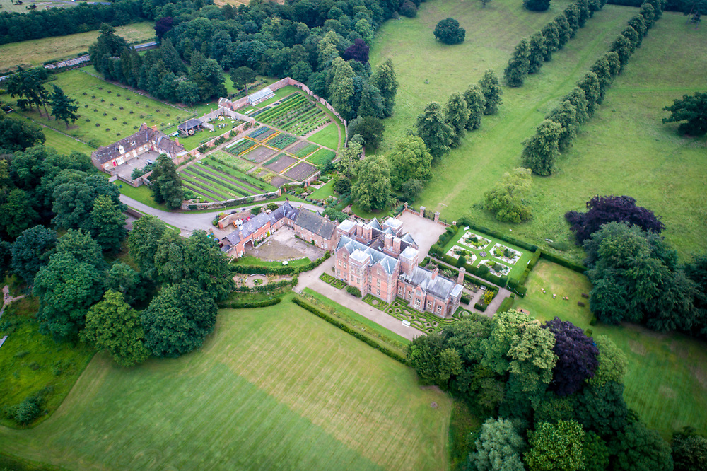Overview of historic Kiplin Hall in North Yorkshire, England
