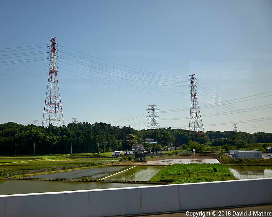 Power Lines and Rice Paddies. View from the Airport Limo Bus -- Narita Airport to Shinjuku in Tokyo. Image taken with a Leica CL camera and 18 mm f/2.8 lens.