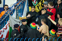 OSIJEK, CROATIA - Tuesday, October 16, 2012: Wales supporters swap scarves with Croatia fans during the Brazil 2014 FIFA World Cup Qualifying Group A match at the Stadion Gradski Vrt. (Pic by David Rawcliffe/Propaganda)