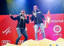 10.02.2017, St. Moritz, SUI, FIS Weltmeisterschaften Ski Alpin, St. Moritz 2017, alpine Kombination, Damen, Siegerehrung, im Bild v-l- Michelle Gisin (SUI, Silbermedaille Alpine Kombination der Damen), Wendy Holdener (SUI, Weltmeister und Goldmedaille Alpine Kombination der Damen) // f.l. ladie's Alpin Combined Silver medalist Michelle Gisin of Switzerland ladie's Alpin Combined Goldmedalist and World Champion Wendy Holdener of Switzerland during the winnerceremony for the ladie's Alpine combination of the FIS Ski World Championships 2017. St. Moritz, Switzerland on 2017/02/10. EXPA Pictures © 2017, PhotoCredit: EXPA/ SM<br /> <br /> *****ATTENTION - OUT of GER*****