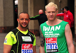 © under license to London News Pictures. 15/04/2010 Jamie Baulch and Iwan Thomas attends photocall ahead of this Sundays 2011 London Virgin Marathon by Tower Bridge London. Photo credit should read ALAN ROXBOROUGH /LNP