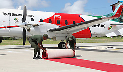 Prince Harry leaves Eugene F. Correia International Airport in Georgetown, Guyana, during an official visit to the Caribbean.