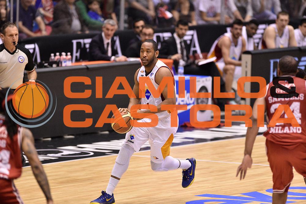 DESCRIZIONE : Milano Lega A 2014-15 <br /> EA7 Olimpia Milano - Acea Virtus Roma <br /> GIOCATORE : Austin Freeman<br /> CATEGORIA : palleggio <br /> SQUADRA : Acea Virtus Roma <br /> EVENTO : Campionato Lega A 2014-2015 <br /> GARA : EA7 Olimpia Milano - Acea Virtus Roma<br /> DATA : 12/04/2015<br /> SPORT : Pallacanestro <br /> AUTORE : Agenzia Ciamillo-Castoria/GiulioCiamillo<br /> Galleria : Lega Basket A 2014-2015  <br /> Fotonotizia : Milano Lega A 2014-15 EA7 Olimpia Milano - Acea Virtus Roma