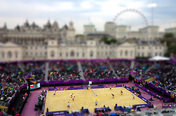GV of the stadium with a tilt shift effect during the preliminary phase - Pool D Beach Volleyball match between Poland and South Africa held at the Horse Guards Parade Stadium in London as part of the London 2012 Olympics on the 1st August 2012..Photo by Ron Gaunt/SPORTZPICS