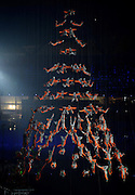 16.08.2014. Nanjing, China. Performers from Songshan Shaolin Tagou Martial Arts School at Dengfeng, Henan Province perform aerial stunts during the opening ceremony of Nanjing 2014 Youth Olympic Games in Nanjing, capital of east Chinas Jiangsu Province,