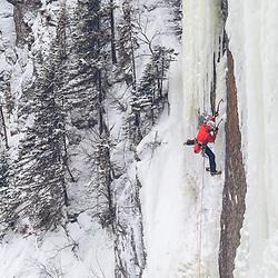 Jeff Mercier Climbing Minotaur, a new varitation to Honey Make it Shine, WI6 R, Parc National Fjords-du-Saguenay
