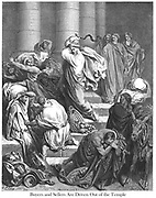 The Buyers and Sellers Driven Out of the Temple [John 2:15] From the book 'Bible Gallery' Illustrated by Gustave Dore with Memoir of Dore and Descriptive Letter-press by Talbot W. Chambers D.D. Published by Cassell & Company Limited in London and simultaneously by Mame in Tours, France in 1866