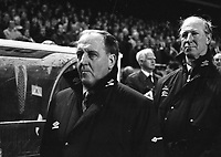 Irish Manager Jack Charlton and his Assistant Manager Maurice Setters at the Ireland v England at Landsdowne Road. Following the Irish goal a riot erupted and the game was abandoned. 15/2/1995 (Part of the Independent Newspapers Ireland/NLI Collection)
