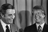 1976, Manhattan, New York City, New York State, USA --- Democratic vice presidential candidate Walter Mondale and presidential candidate Jimmy Carter smile at a press conference during the national convention. --- Image by © Owen Franken/Corbis