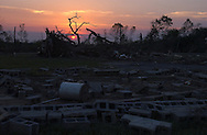 Rainsville, Alabama: The ruins of Universal Baptist Church. At least five churches were demolished or severely damaged in this rural town in northeastern Alabama, where churches define the contours of life. (PHOTO: MIGUEL JUAREZ LUGO)
