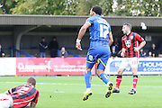 Andy Barcham of AFC Wimbledon scores within 4 minutes during the Sky Bet League 2 match between AFC Wimbledon and Morecambe at the Cherry Red Records Stadium, Kingston, England on 17 October 2015. Photo by Stuart Butcher.