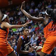 UNCASVILLE, CONNECTICUT- JUNE 3:  Angel McCoughtry #35 of the Atlanta Dream in action  during the Atlanta Dream Vs Connecticut Sun, WNBA regular season game at Mohegan Sun Arena on June 3, 2016 in Uncasville, Connecticut. (Photo by Tim Clayton/Corbis via Getty Images)