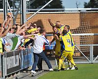 Photo: Tony Oudot/Richard Lane Photography.Colchester United v Leeds United. Coca Cola League One. 29/08/2009. <br /> Bradley Johnson celebrates his goal for Leeds with teammates
