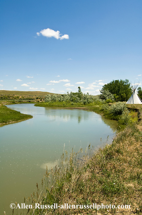 Tipis on Little Bighorn River, Crow Indian Reservation, Montana, Medicine Tail Coulee where Battle of the Little Bighorn occurred.
