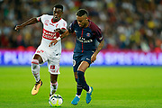 Paris Saint-Germain's Brazilian forward Neymar Jr vies with Toulouse Football Club's Brazilian midfielder Wergiton Somalia during the French championship L1 football match between Paris Saint-Germain (PSG) and Toulouse, on August 20, 2017, at the Parc des Princes, in Paris, France - Photo Benjamin Cremel / ProSportsImages / DPPI