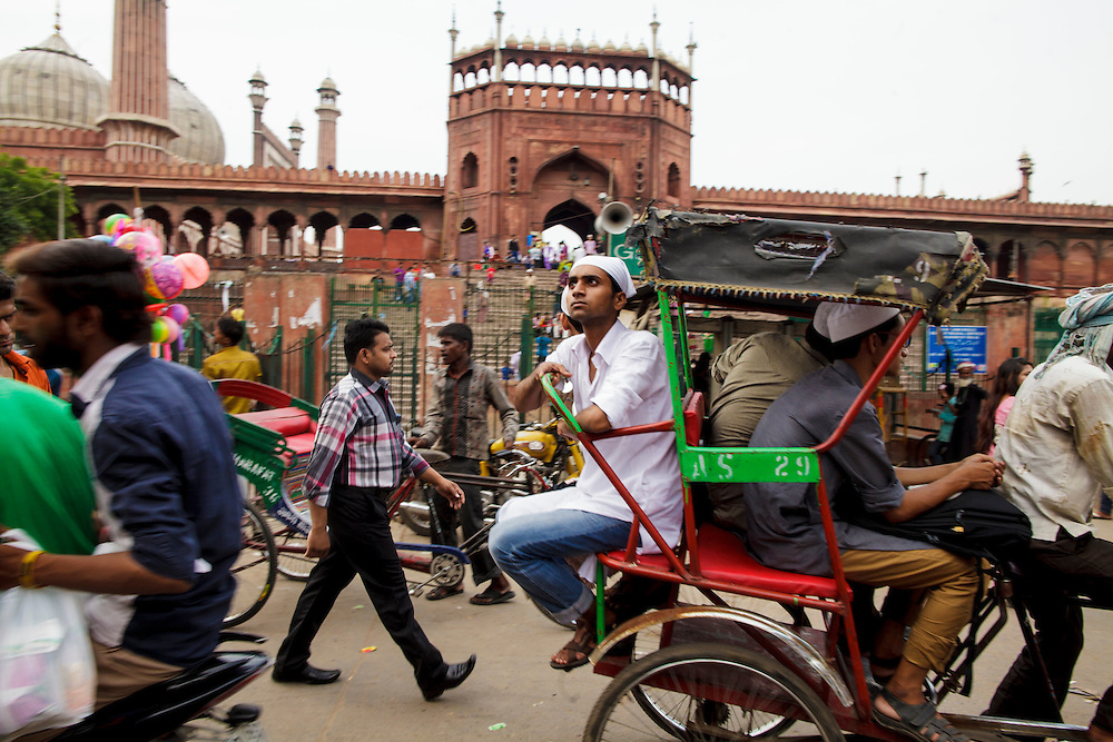 Crowds near Jama Masjid mosque in Old Delhi, India