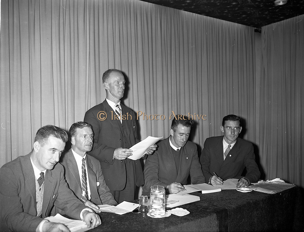 08/09/1959<br /> 09/08/1959<br /> 08 September 1959<br /> First Annual Congress of the Irish Greyhound Owners and Breeders Federation at Jury's Hotel, Dublin. The newly elected Chairman, Mr. Paddy Cashman of Cork, (centre) addressing the congress. Also in the picture are the other newly elected officers (l-r): Mr. James Goan,(Belfast) Acting Treasurer; Mr. Paddy Dunlop, (Kilkenny); Vice Chairman Mr. Joe McCabe (Abbyleix), Honorary Secretary and Mr. Raymond Smith, (Thurles) Assistant Secretary.