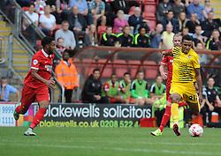 Cristian Montano of Bristol Rovers gets a shot away - Mandatory byline: Neil Brookman/JMP - 07966386802 - 29/08/2015 - FOOTBALL - Matchroom Stadium -Leyton,England - Leyton Orient v Bristol Rovers - Sky Bet League Two