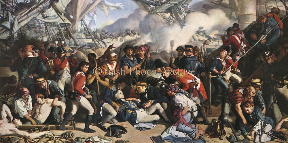 The Death of Nelson' after the painting by Daniel Maclise. Horation Nelson (1758-1805) on board HMS Victory at the Battle of Trafalgar.