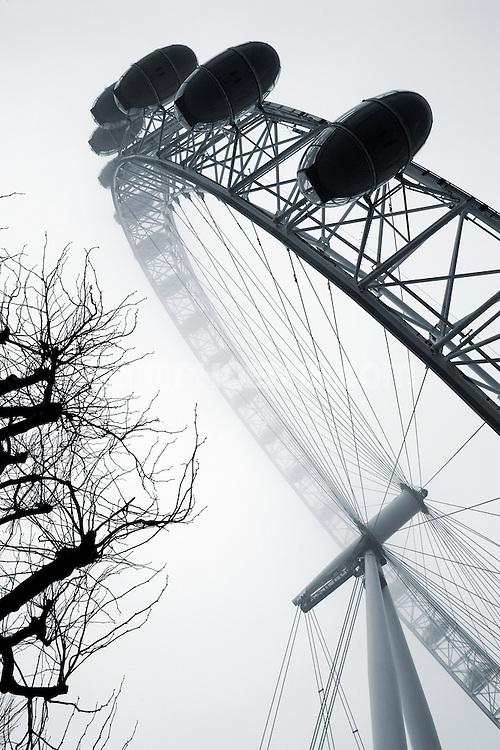 London Eye Millennium Wheel<br /> the landmark tourist attraction the London eye on a misty morning in London