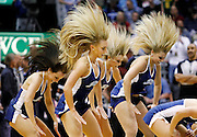 The Utah Jazz cheerleaders perform during a time out in the second half of Game 4 of the NBA Western Conference first-round playoff series against the Denver Nuggets in Salt Lake City, Sunday, April 25, 2010. (AP Photo/Colin E Braley)