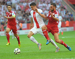 13.06.2015, Nationalstadion, Warschau, POL, UEFA Euro 2016 Qualifikation, Polen vs Greorgien, Gruppe D, im Bild ROBERT LEWANDOWSKI GURAM KASHIA // during the UEFA EURO 2016 qualifier group D match between Poland and Greorgia at the Nationalstadion in Warschau, Poland on 2015/06/13. EXPA Pictures © 2015, PhotoCredit: EXPA/ Newspix/ MAREK BICZYK<br /> <br /> *****ATTENTION - for AUT, SLO, CRO, SRB, BIH, MAZ, TUR, SUI, SWE only*****